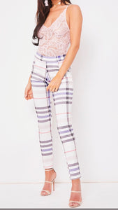 ZOLA STONE AND MULTI TONE CHECKED SLIM FIT TROUSERS