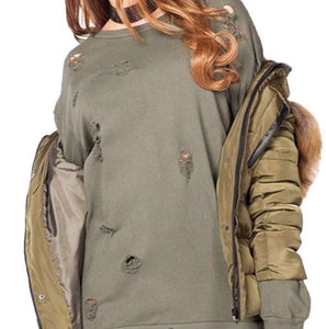 FERNE KHAKI DISTRESSED OVERSIZED SWEATSHIRT