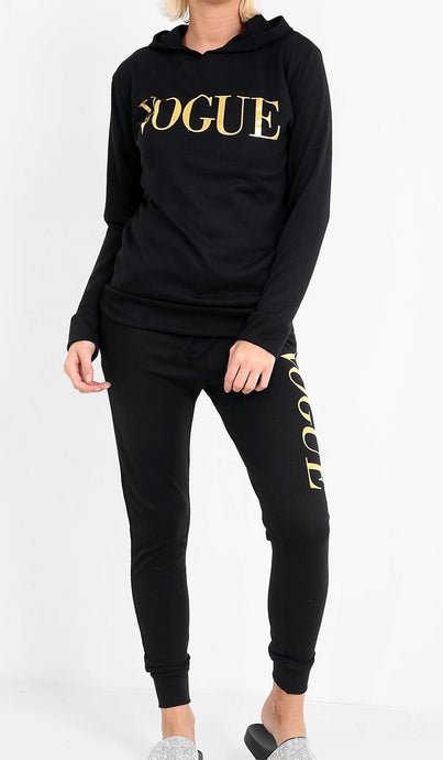 PIPER BLACK AND GOLD FOIL 'VOGUE' HOODED LOUNGE SET
