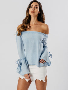 HAZEL OVERSIZED TIE SLEEVE CHAMBRAY BLUE BLOUSE