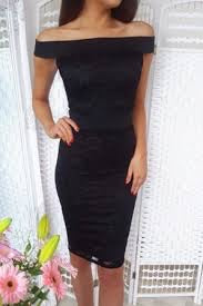 MYSTERY BLACK LACE BARDOT BODYCON DRESS