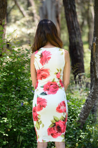 ASHLEIGH PANELLED  FLORAL BODYCON DRESS