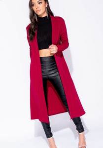 INEZ WINE EDGE TO EDGE MAXI CARDIGAN