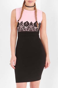 TIA BLACK LACE DETAIL BODYCON DRESS
