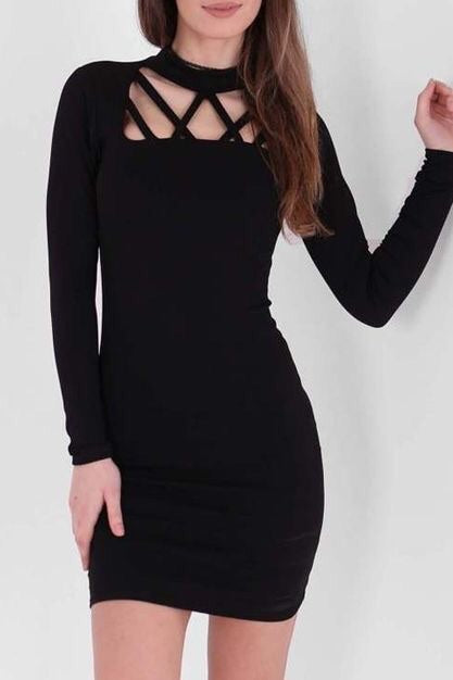 KIMBERLEY BLACK CAGED HIGH NECK  BODYCON DRESS