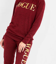 PIPER WINE AND GOLD FOIL 'VOGUE' HOODED LOUNGE SET