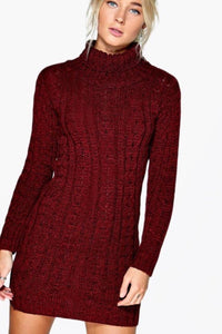 ANDREA WINE CABLE KNIT JUMPER DRESS