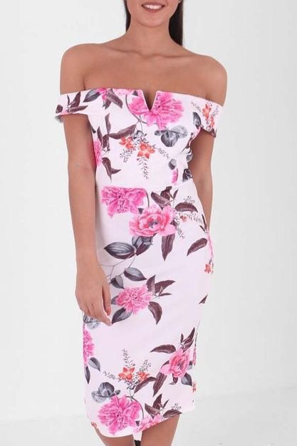 ISLA FLORAL V CUT BARDOT BODYCON DRESS