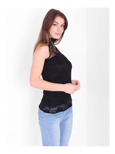 ERIN BLACK LACE HIGH NECK TOP
