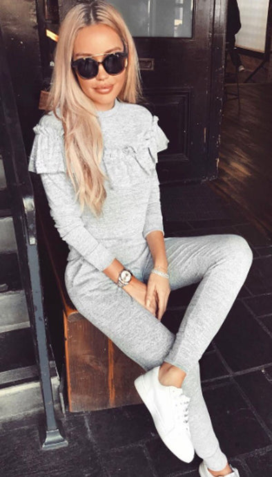LACEY GREY FRILL LUXURY LOUNGESET