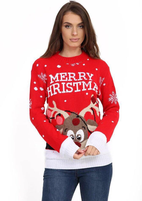 VIOLET RED 3D POM POM ANTLER DETAIL CHRISTMAS JUMPER