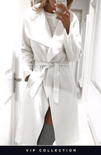 FRANCESCA IVORY BELTED WATERFALL COAT