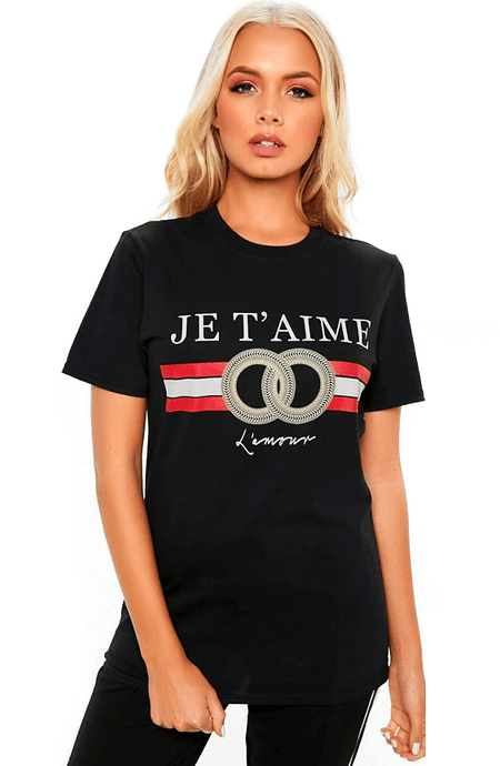 JE T'AIME LAMORE BLACK & SILVER STATEMENT TOP