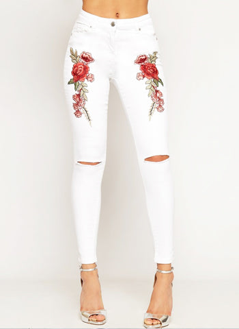 HAYLEY WHITE FLORAL EMBROIDERED SKINNY JEANS