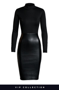VIP MARKLE BLACK HIGH NECK LEATHERETTE BODYCON DRESS