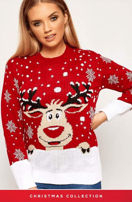PEEPING REINDEER & SNOWFALL RED CHRISTMAS JUMPER