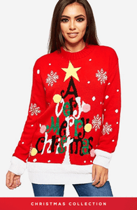 CORA RED VERY MERRY CHRISTMAS TREE JUMPER