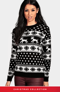 HADLEY BLACK AND WHITE SNOWFLAKES CHRISTMAS JUMPER
