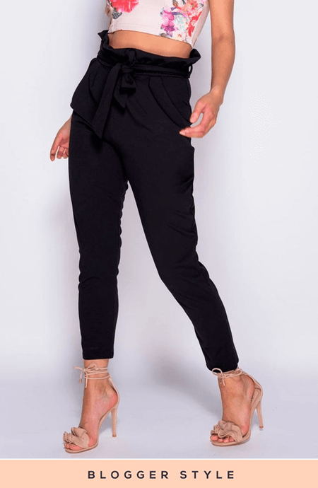 TONI-ANN BLACK PAPER BAG WAIST  TROUSERS