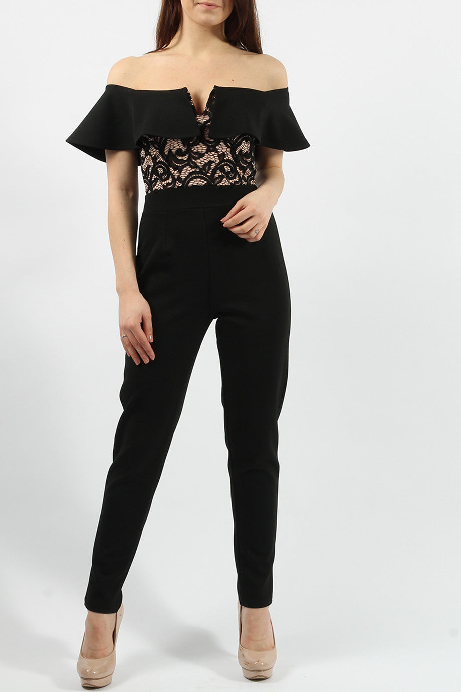 NAOMI BLACK V CUT BARDOT LACE  JUMPSUIT