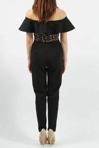 TERRI BLACK V CUT BARDOT LACE  JUMPSUIT