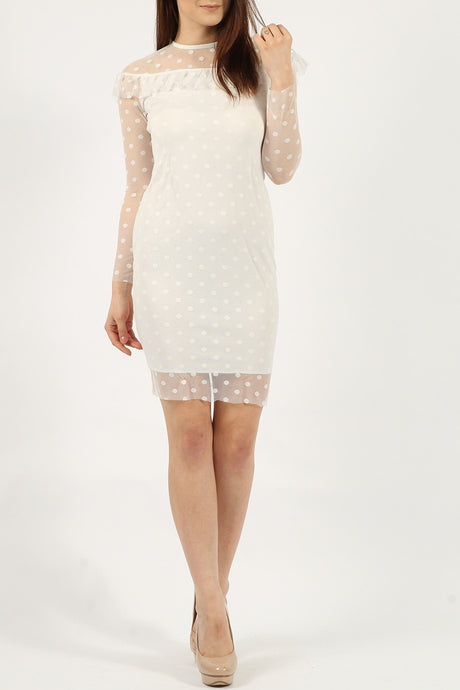 Harriett Ivory Polka Dot Bodycon Dress