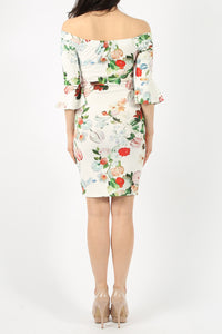 STACEY WHITE FLORAL PRINT BELL SLEEVE DRESS