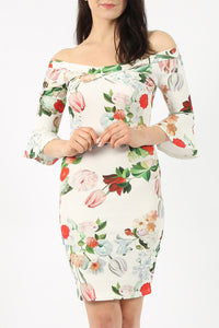 Stacey White Floral Bell Sleeve Bodycon Dress