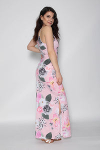 JENNY PINK FLORAL SPLIT MAXI DRESS