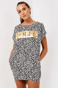 LEIA 'VOGUE' LEOPARD PRINT OVERSIZED T-SHIRT DRESS