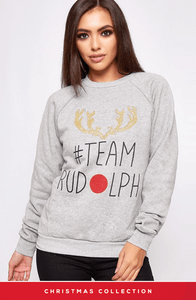 GREY TEAM RUDOLPH MERRY CHRISTMAS JUMPER