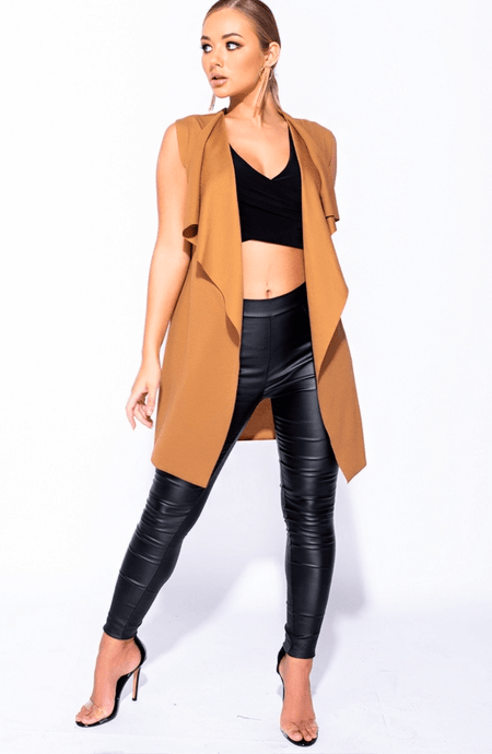 JENNA RAE CAMEL SLEEVELESS BELTED WATERFALL JACKET