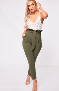 HANNAH KHAKI PAPER BAG TROUSERS