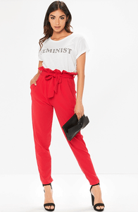 POPPY RED PAPER BAG TROUSERS