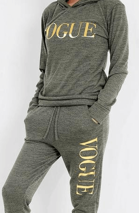 PIPER KHAKI AND GOLD FOIL 'VOGUE' HOODED LOUNGE SET