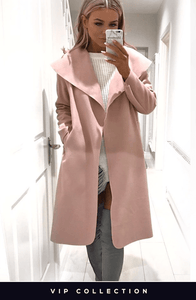 FRANCESCA BABY PINK BELTED WATERFALL COAT