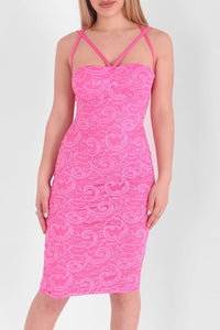 GEORGIE FUCHSIA PINK LACE BODYCON DRESS
