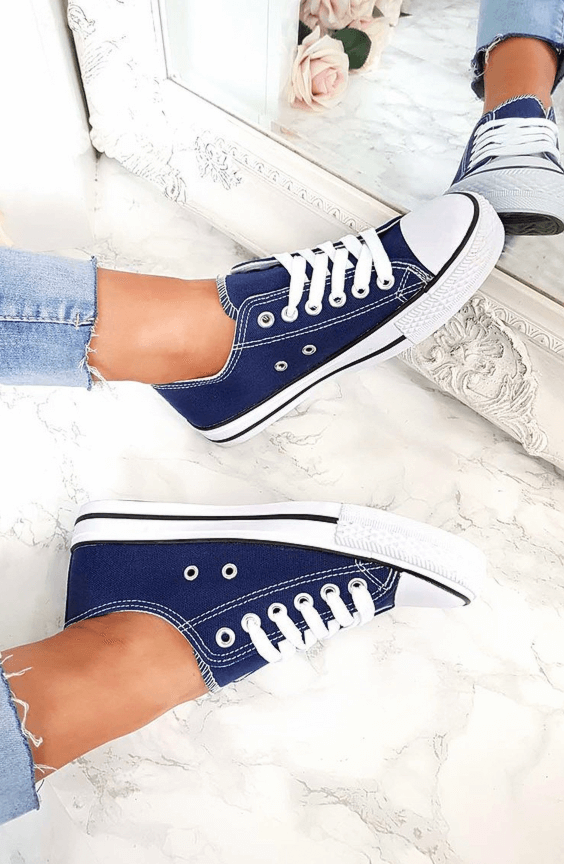 LIVI NAVY LACE UP BASEBALL TRAINERS