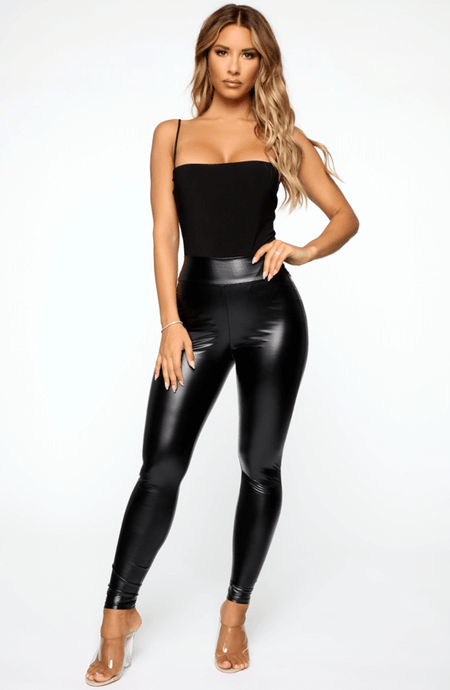 ANGEL BLACK HIGH WAIST WET LOOK  LEGGINGS