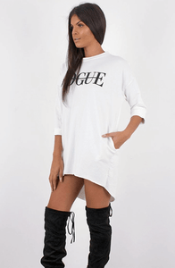 CAMARI WHITE VOGUE SLOGAN OVERSIZED JUMPER