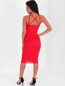 VANESSA RED LACE STRAP BODYCON DRESS