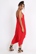 RACHEL RED DRAPED HAREM JUMPSUIT