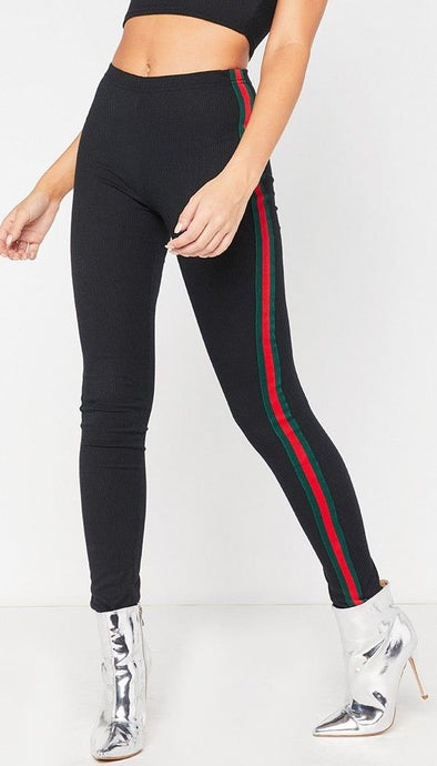 GABBY RED AND GREEN SPORT STYLE SIDE STRIPE DETAIL LEGGINGS