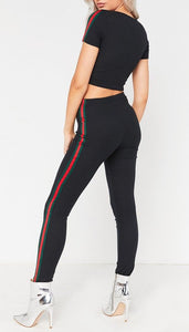 GABBY RED AND GREEN SPORT STYLE SIDE STRIPE DETAIL SKI LEGGINGS