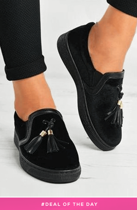 CHARLIE BLACK VELVET TASSEL SLIP ON PUMPS