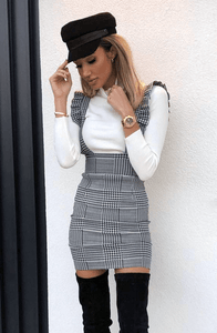 HARRIETT PINAFORE CHECK PRINT MINI DRESS