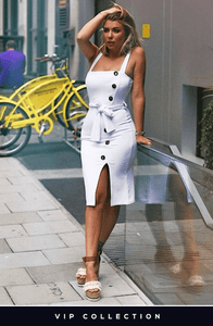 OLIVIA BUCKLAND INSPIRED WHITE MOCK BUTTON BELTED MIDI DRESS