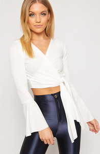 LAYLA WHITE BELL SLEEVE TIED FRONT FLUTE TOP