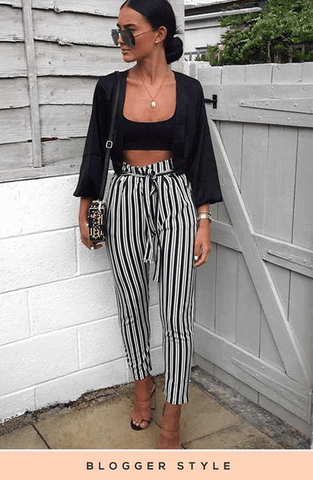 SARA STRIPED TIE WAIST TROUSERS