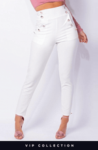 AVA WHITE HIGH WAISTED MILITARY TAPERED TROUSERS